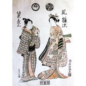 鳥居清満「嵐雛次と二代目坂東彦三郎」【窓飾り】