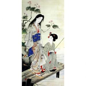 橋本周延「美人釣魚図」【襖紙】