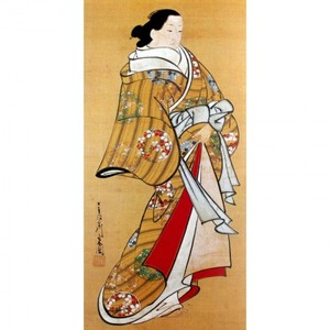 宮川長春「遊女立姿図」【襖紙】