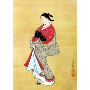 西川祐信「美人立姿図」【窓飾り】