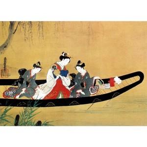 西村重長「舟中の遊女と禿図」【額装向け複製画】