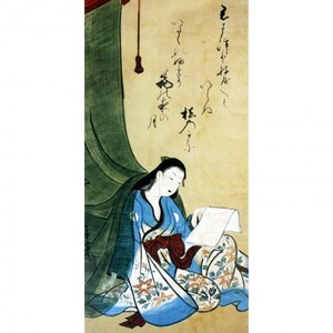 山崎女龍「文読む蚊帳美人図」【襖紙】