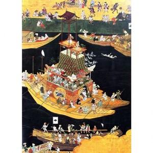 無款「津島神社祭礼図屏風 朝祭(部分2)」【窓飾り】