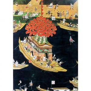 無款「津島神社祭礼図屏風 宵祭(部分)」【窓飾り】