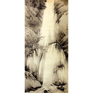 岸竹堂「春秋瀑布図」【窓飾り】