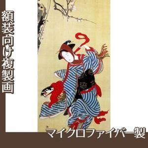 勝川春章「春駒図」【複製画:マイクロファイバー】