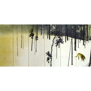 木島桜谷「寒月(左)」【窓飾り】