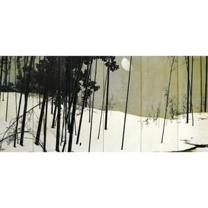 木島桜谷「寒月(右)」【窓飾り】