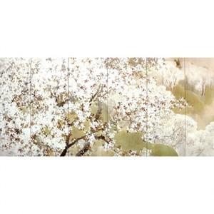 木島桜谷「小雨ふる吉野(左)」【窓飾り】