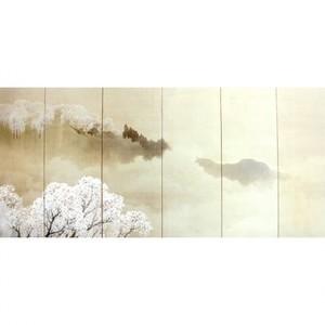 木島桜谷「小雨ふる吉野(右)」【窓飾り】