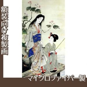 橋本周延「美人釣魚図」【複製画:マイクロファイバー】