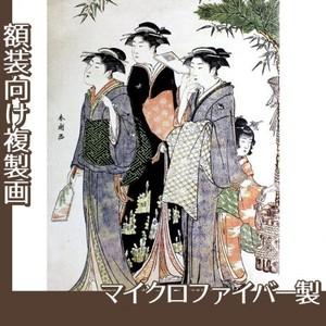 勝川春潮「羽子板を持つ美人図」【複製画:マイクロファイバー】