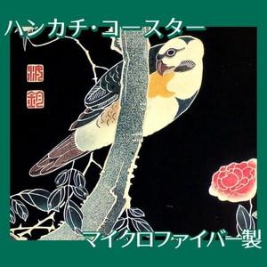 伊藤若冲「花鳥版画(六枚) 三.薔薇に鸚哥図」【ハンカチ・コースター】