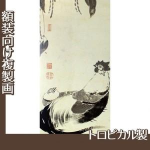 伊藤若冲「豆下双鶏図(双幅)」【複製画:トロピカル】