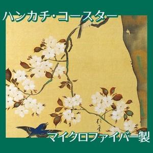 酒井抱一「桜に小禽図・柿に小禽図(右隻)」【ハンカチ・コースター】