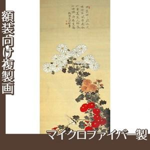 酒井抱一「菊に小禽図」【複製画:マイクロファイバー】
