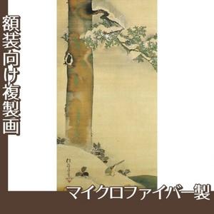 酒井抱一「雪中檜に小禽図」【複製画:マイクロファイバー】
