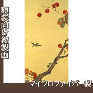 酒井抱一「桜に小禽図・柿に小禽図(左隻)」【複製画:マイクロファイバー】