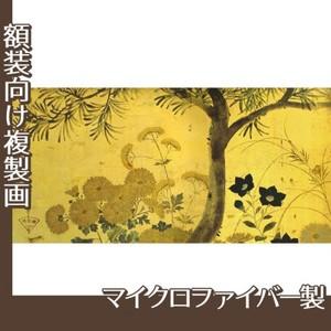 酒井抱一「槙に秋草図屏風(左隻)」【複製画:マイクロファイバー】