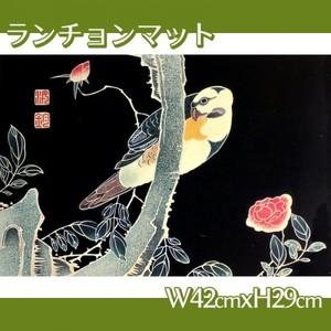伊藤若冲「花鳥版画(六枚) 三.薔薇に鸚哥図」【ランチョンマット】