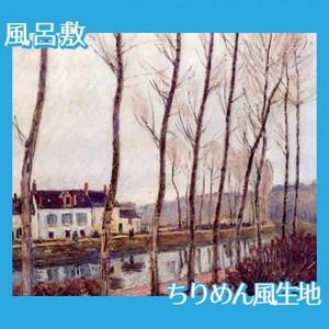 シスレー「ロワン川の運河、冬」【風呂敷】
