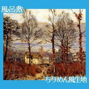 シスレー「森のはずれの村、秋景色」【風呂敷】