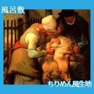 ミレー「羊の毛を刈り取る人たち」【風呂敷】