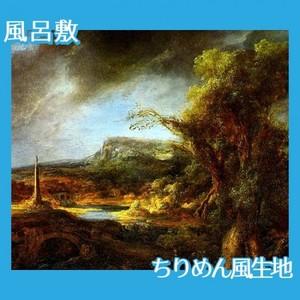 レンブラント「オベリスクのある風景」【風呂敷】
