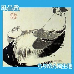 伊藤若冲「豆下双鶏図(双幅)」【風呂敷】
