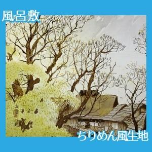 川合玉堂「古驛夕照」【風呂敷】