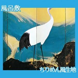 平福百穂「丹鶴青瀾(左)」【風呂敷】