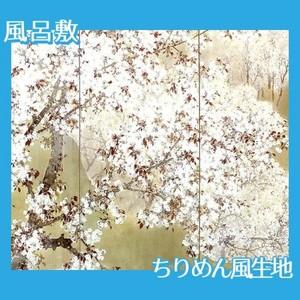 木島桜谷「小雨ふる吉野(左)」【風呂敷】