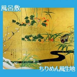 酒井抱一「四季花鳥図屏風」【風呂敷】