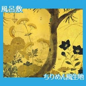 酒井抱一「槙に秋草図屏風(左隻)」【風呂敷】