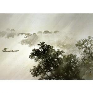 川合玉堂「驟雨」【額装向け複製画】