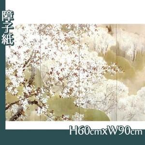 木島桜谷「小雨ふる吉野(左)」【障子紙】