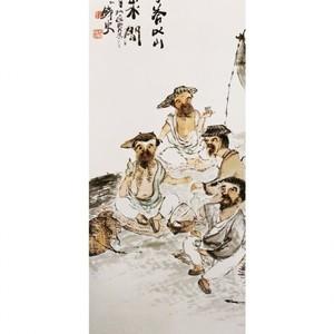 富岡鉄斎「漁楽図」【窓飾り】