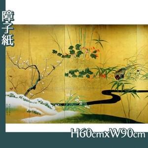 酒井抱一「四季花鳥図屏風」【障子紙】