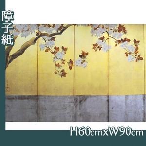 酒井抱一「桜図屏風(左隻)」【障子紙】