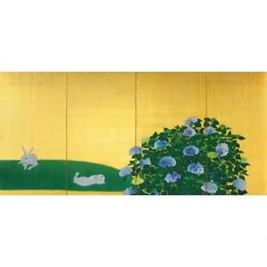 速水御舟「翠苔緑芝(左)」【窓飾り】
