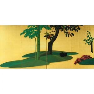 速水御舟「翠苔緑芝(右)」【窓飾り】