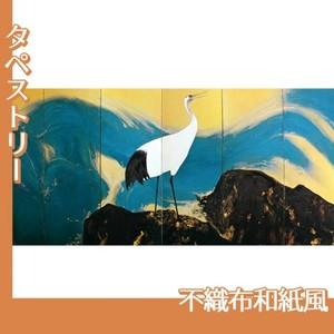 平福百穂「丹鶴青瀾(左)」【タペストリー:不織布和紙風】