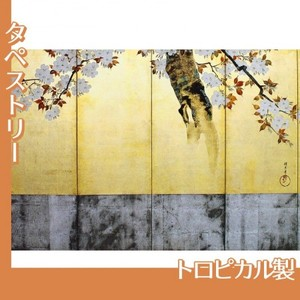 酒井抱一「桜図屏風(右隻)」【タペストリー:トロピカル】