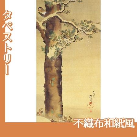 酒井抱一「十二ヶ月花鳥図(十二月檜に啄木鳥図)」【タペストリー:不織布和紙風】