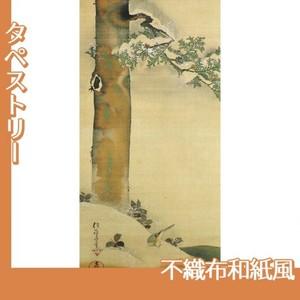 酒井抱一「雪中檜に小禽図」【タペストリー:不織布和紙風】