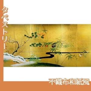 酒井抱一「四季花鳥図屏風」【タペストリー:不織布和紙風】