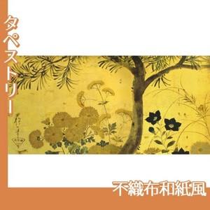 酒井抱一「槙に秋草図屏風(左隻)」【タペストリー:不織布和紙風】