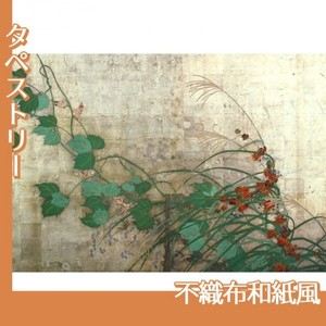酒井抱一「夏秋草図屏風(左隻)」【タペストリー:不織布和紙風】