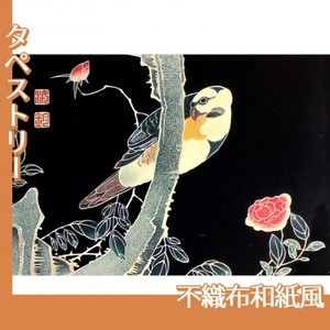 伊藤若冲「花鳥版画(六枚) 三.薔薇に鸚哥図」【タペストリー:不織布和紙風】