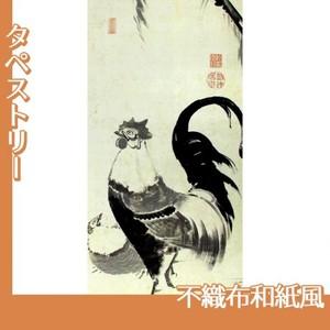 伊藤若冲「柳下双鶏図(双幅)」【タペストリー:不織布和紙風】